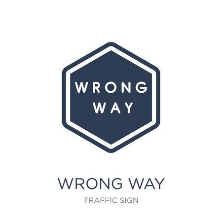 Wrong Way sign icon. Trendy flat vector Wrong Way sign icon on white background from traffic sign collection, vector illustration can be use for web and mobile, eps10