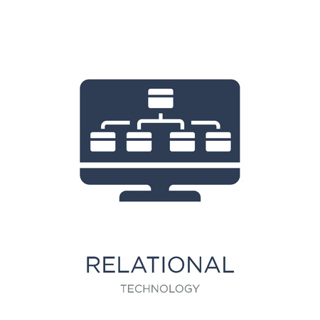 Relational database management system icon. Trendy flat vector Relational database management system icon on white background from Technology collection, vector illustration can be use for web and mobile, eps10 Banque d'images - 112417410
