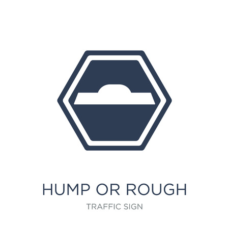 hump or rough sign icon. Trendy flat vector hump or rough sign icon on white background from traffic sign collection, vector illustration can be use for web and mobile, eps10 Illustration