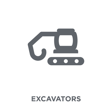 Excavators icon. Excavators design concept from Transportation collection. Simple element vector illustration on white background. Stockfoto - 112417415