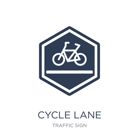Cycle lane sign icon. Trendy flat vector Cycle lane sign icon on white background from traffic sign collection, vector illustration can be use for web and mobile, eps10  イラスト・ベクター素材
