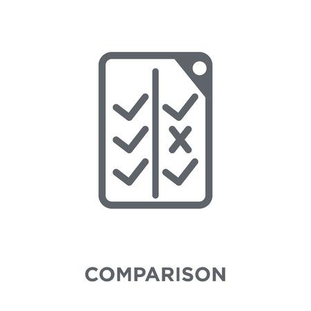 Icono de comparación. Concepto de diseño de comparación de la colección de inicio. Ilustración de vector de elemento simple sobre fondo blanco.