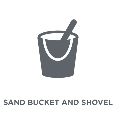 Sand bucket and shovel icon. Sand bucket and shovel design concept from Summer collection. Simple element vector illustration on white background.