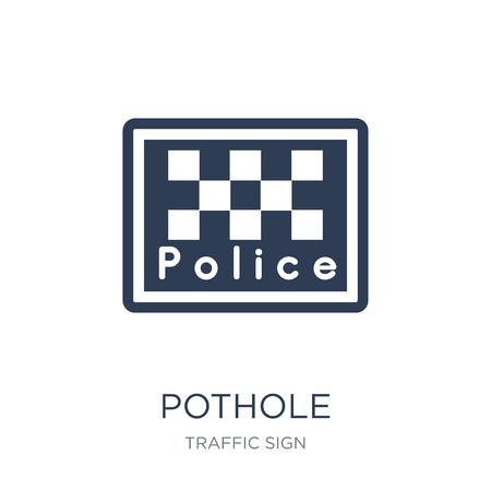 Pothole sign icon. Trendy flat vector Pothole sign icon on white background from traffic sign collection, vector illustration can be use for web and mobile, eps10
