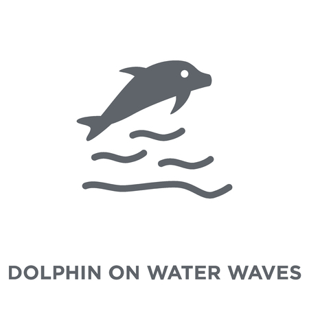 Dolphin on water waves icon. Dolphin on water waves design concept from Summer collection. Simple element vector illustration on white background.