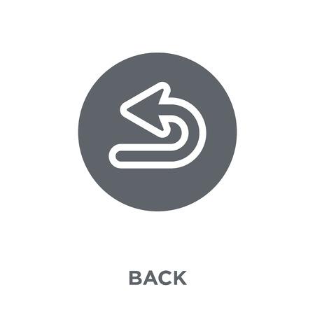 Zurück-Symbol. Zurück Designkonzept aus der Sammlung. Einfache Elementvektorillustration auf weißem Hintergrund. Vektorgrafik
