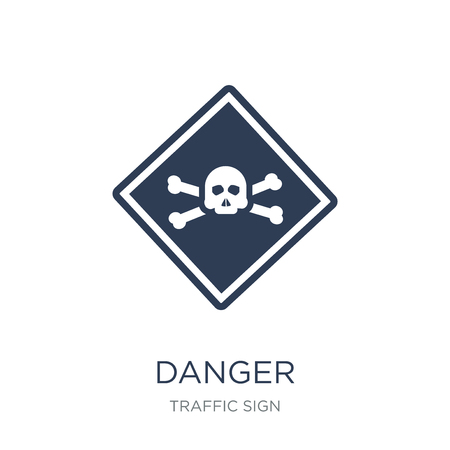 Danger sign icon. Trendy flat vector Danger sign icon on white background from traffic sign collection, vector illustration can be use for web and mobile, eps10 版權商用圖片 - 112417472