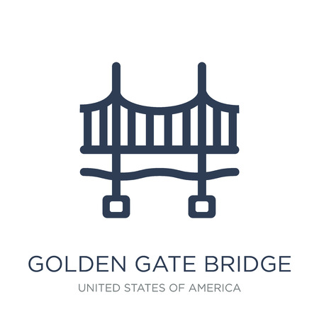 Golden gate bridge icon. Trendy flat vector Golden gate bridge icon on white background from United States of America collection, vector illustration can be use for web and mobile, eps10