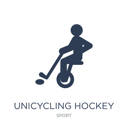 unicycling hockey icon. Trendy flat vector unicycling hockey icon on white background from sport collection, vector illustration can be use for web and mobile, eps10 Illustration