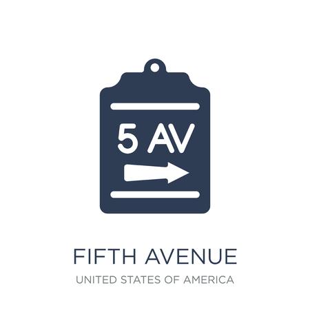 Icône de la cinquième avenue. Icône de cinquième avenue vecteur plat sur fond blanc de la collection des États-Unis d'Amérique, illustration vectorielle peut être utilisé pour le web et mobile, eps10 Vecteurs