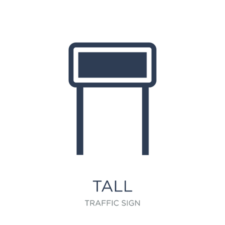 Tall sign icon. Trendy flat vector Tall sign icon on white background from traffic sign collection, vector illustration can be use for web and mobile, eps10