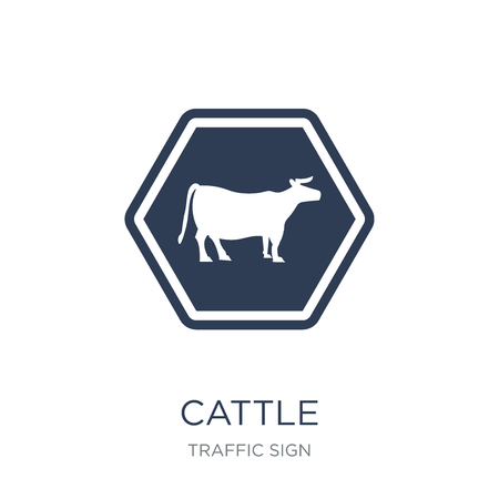 cattle sign icon. Trendy flat vector cattle sign icon on white background from traffic sign collection, vector illustration can be use for web and mobile, eps10