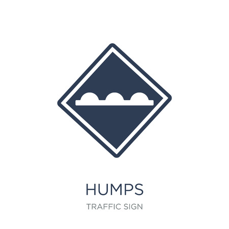 Humps sign icon. Trendy flat vector Humps sign icon on white background from traffic sign collection, vector illustration can be use for web and mobile, eps10 Illustration