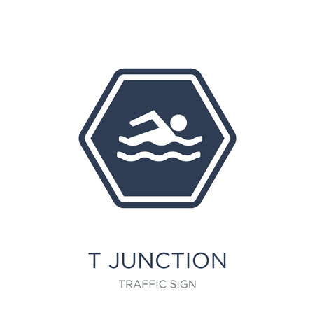 T junction sign icon. Trendy flat vector T junction sign icon on white background from traffic sign collection, vector illustration can be use for web and mobile, eps10
