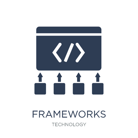 Frameworks icon. Trendy flat vector Frameworks icon on white background from Technology collection, vector illustration can be use for web and mobile, eps10 Illustration