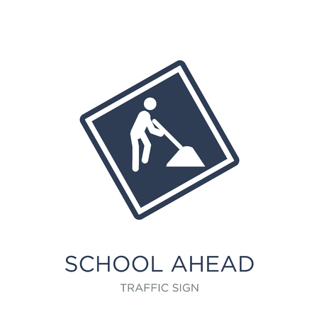 school ahead sign icon. Trendy flat vector school ahead sign icon on white background from traffic sign collection, vector illustration can be use for web and mobile, eps10