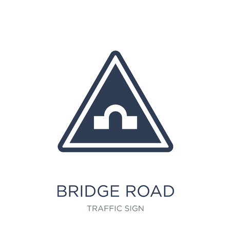 Bridge road sign icon. Trendy flat vector Bridge road sign icon on white background from traffic sign collection, vector illustration can be use for web and mobile, eps10