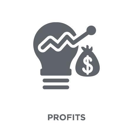 Icona di profitti. Concetto di design di profitti da collezione. Illustrazione vettoriale semplice elemento su sfondo bianco. Vettoriali