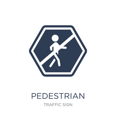 Pedestrian sign icon. Trendy flat vector Pedestrian sign icon on white background from traffic sign collection, vector illustration can be use for web and mobile, eps10 Foto de archivo - 112417566