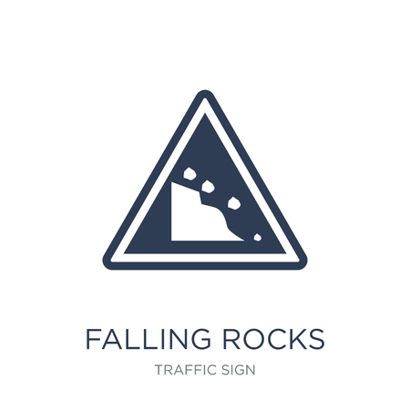 Falling rocks sign icon. Trendy flat vector Falling rocks sign icon on white background from traffic sign collection, vector illustration can be use for web and mobile, eps10 Imagens - 112417557