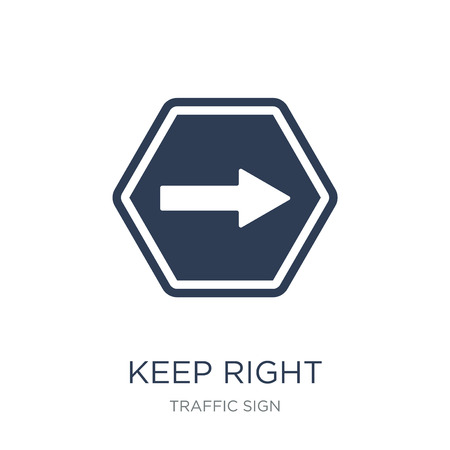 Keep right sign icon. Trendy flat vector Keep right sign icon on white background from traffic sign collection, vector illustration can be use for web and mobile, eps10
