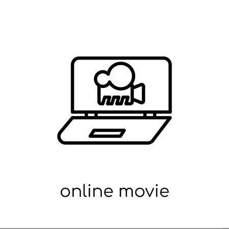 Online movie icon. Trendy modern flat linear vector Online movie icon on white background from thin line Cinema collection, editable outline stroke vector illustration