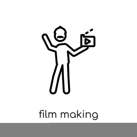 Film making icon. Trendy modern flat linear vector Film making icon on white background from thin line Activity and Hobbies collection, editable outline stroke vector illustration Ilustracja