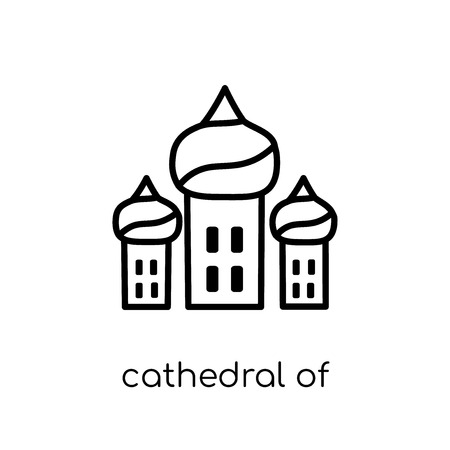 Kathedrale des Heiligen Basilikum-Symbol. Trendige moderne flache lineare Vektorkathedrale des Heiligen Basilikums auf weißem Hintergrund aus dünner Linie Architektur- und Reisesammlung, Umrissvektorillustration