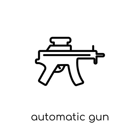 automatic gun icon. Trendy modern flat linear vector automatic gun icon on white background from thin line Army collection, outline vector illustration