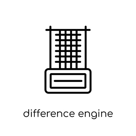 difference engine icon. Trendy modern flat linear vector difference engine icon on white background from thin line Artificial Intelligence, Future Technology collection, outline vector illustration Иллюстрация