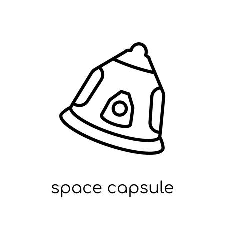 space capsule icon. Trendy modern flat linear vector space capsule icon on white background from thin line Astronomy collection, outline vector illustration Illustration