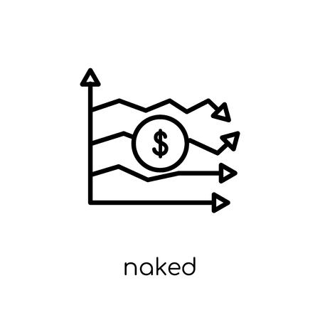 Icona di vendita allo scoperto nuda. Alla moda moderno piatto lineare di vettore nudo vendita allo scoperto icona su priorità bassa bianca da collezione Business di linea sottile, illustrazione di vettore di corsa di profilo modificabile