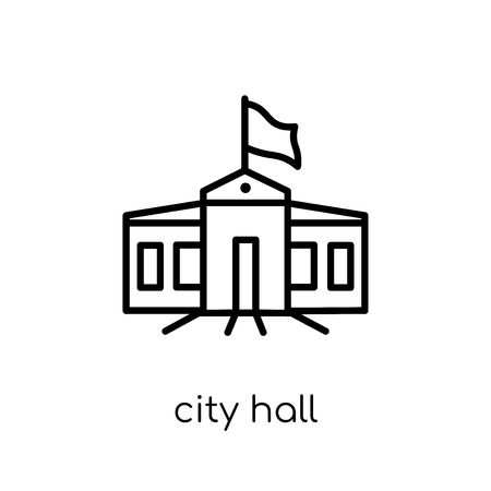 City hall icon. Trendy modern flat linear vector City hall icon on white background from thin line Architecture and Travel collection, editable outline stroke vector illustration 스톡 콘텐츠 - 112417620