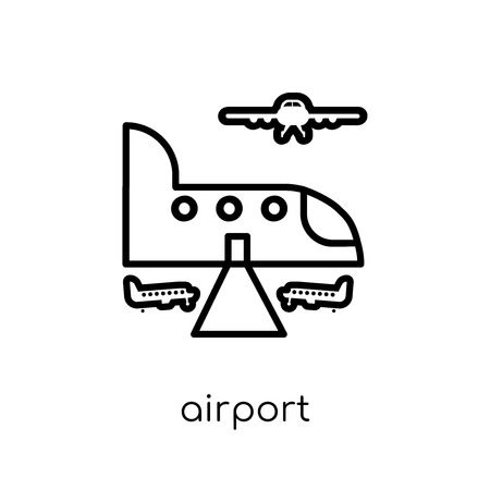 Airport icon. Trendy modern flat linear vector Airport icon on white background from thin line Architecture and Travel collection, editable outline stroke vector illustration Illustration