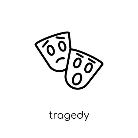 tragedy icon. Trendy modern flat linear vector tragedy icon on white background from thin line Cinema collection, editable outline stroke vector illustration 向量圖像