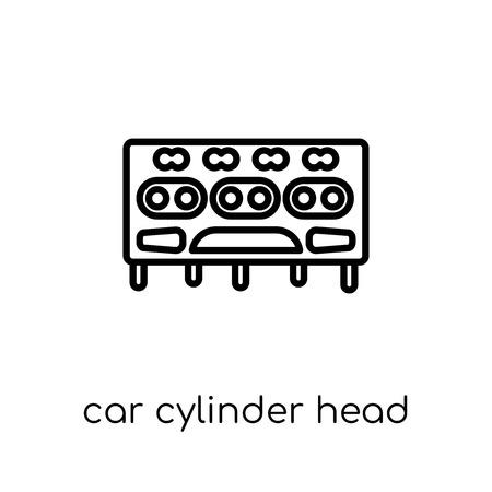 icona della testata del cilindro dell'auto. Icona moderna tendenza di testata cilindro auto piatto lineare di vettore su priorità bassa bianca da collezione di parti di auto di linea sottile, illustrazione di vettore del profilo