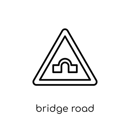 Bridge road sign icon. Trendy modern flat linear vector Bridge road sign icon on white background from thin line traffic sign collection, editable outline stroke vector illustration