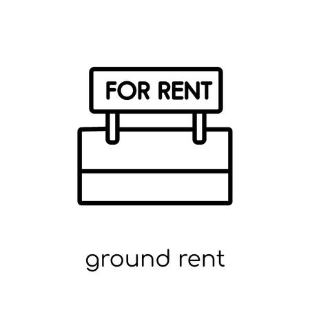 Ground rent icon. Trendy modern flat linear vector Ground rent icon on white background from thin line Business collection, editable outline stroke vector illustration