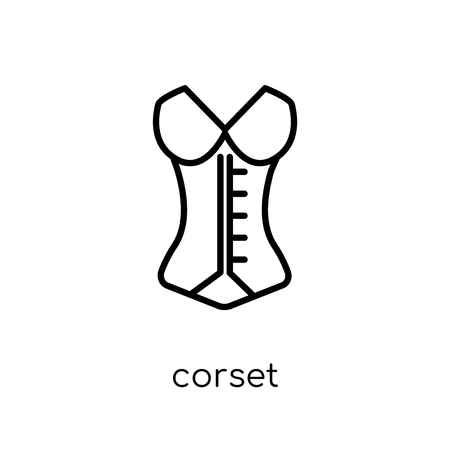 corset icon. Trendy modern flat linear vector corset icon on white background from thin line Clothes collection, outline vector illustration