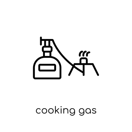 cooking gas icon. Trendy modern flat linear vector cooking gas icon on white background from thin line Camping collection, outline vector illustration