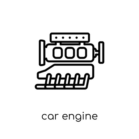 car engine icon. Trendy modern flat linear vector car engine icon on white background from thin line Car parts collection, outline vector illustration