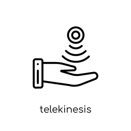 telekinesis icon. Trendy modern flat linear vector telekinesis icon on white background from thin line Artificial Intelligence, Future Technology collection, outline vector illustration Stockfoto - 112417641