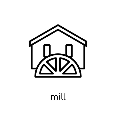 mill icon. Trendy modern flat linear vector mill icon on white background from thin line Agriculture, Farming and Gardening collection, outline vector illustration