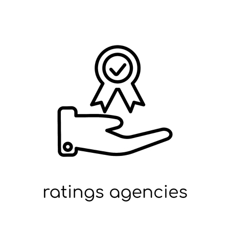 Ratings agencies icon. Trendy modern flat linear vector Ratings agencies icon on white background from thin line business collection, editable outline stroke vector illustration Stock Vector - 112417643