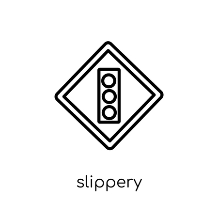 Slippery sign icon. Trendy modern flat linear vector Slippery sign icon on white background from thin line traffic sign collection, editable outline stroke vector illustration Çizim
