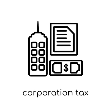 corporation tax icon. Trendy modern flat linear vector corporation tax icon on white background from thin line Corporation tax collection, outline vector illustration