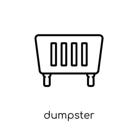 Dumpster icon. Trendy modern flat linear vector Dumpster icon on white background from thin line Cleaning collection, editable outline stroke vector illustration Çizim