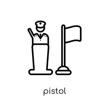 pistol icon. Trendy modern flat linear vector pistol icon on white background from thin line Army collection, outline vector illustration Stock Vector - 112417661