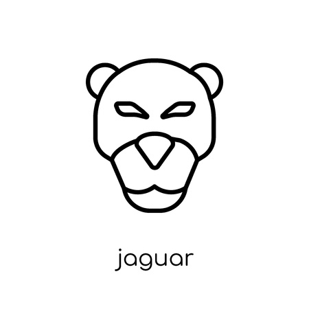 Jaguar icon. Trendy modern flat linear vector Jaguar icon on white background from thin line animals collection, editable outline stroke vector illustration  イラスト・ベクター素材
