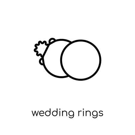 wedding rings icon. Trendy modern flat linear vector wedding rings icon on white background from thin line Wedding and love collection, outline vector illustration Illustration
